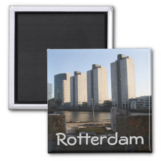 Skyscrapers in Rotterdam 2 Inch Square Magnet