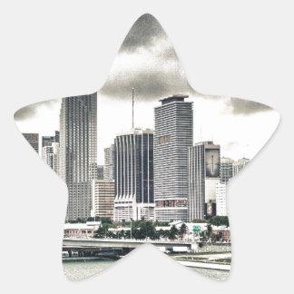 Skyscrapers over Water Star Sticker