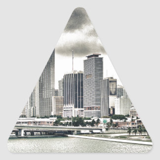 Skyscrapers over Water Triangle Stickers