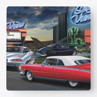 Skyview Drive In Square Wall Clock