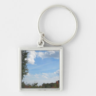 Skyview Landscape Lake Pond River Homes Gardens 99 Keychain