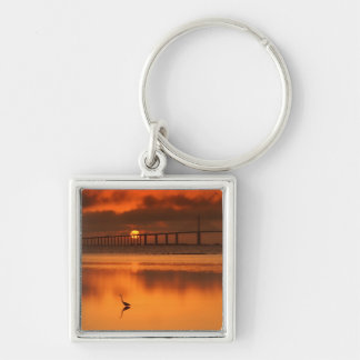 Skyway Bridge Silver-Colored Square Keychain