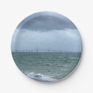 Skyway on a Stormy Day Paper Plate