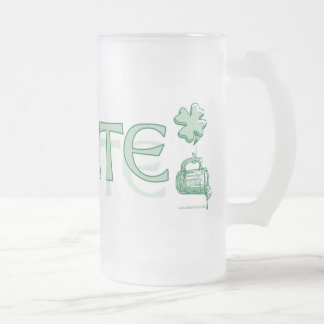 Slainte Irish Beer Party Gear Frosted Glass Beer Mug