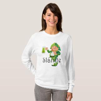 Slainte Irish Expression and Leprechaun T-Shirt