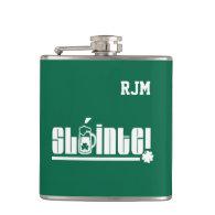 Sláinte Text St. Patrick's Day Fun Gift Flasks