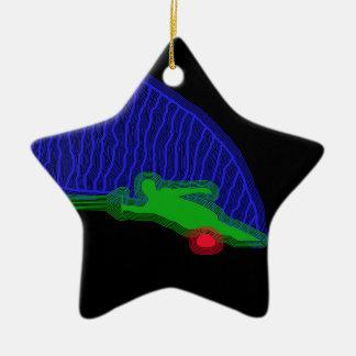Slalom Water Skier Neon Spray Ceramic Ornament