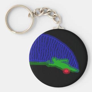 Slalom Water Skier Neon Spray Keychain
