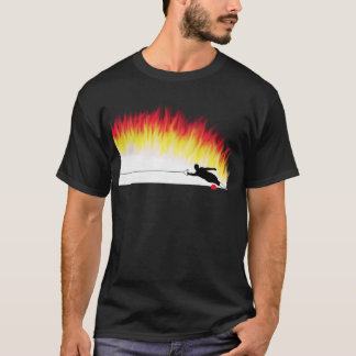 Slalom Water Skier With Flames T-Shirt