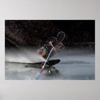 Slalom Waterskiing Art Poster