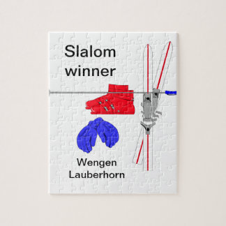 Slalom winner, Ski boots, gloves and sticks Jigsaw Puzzle