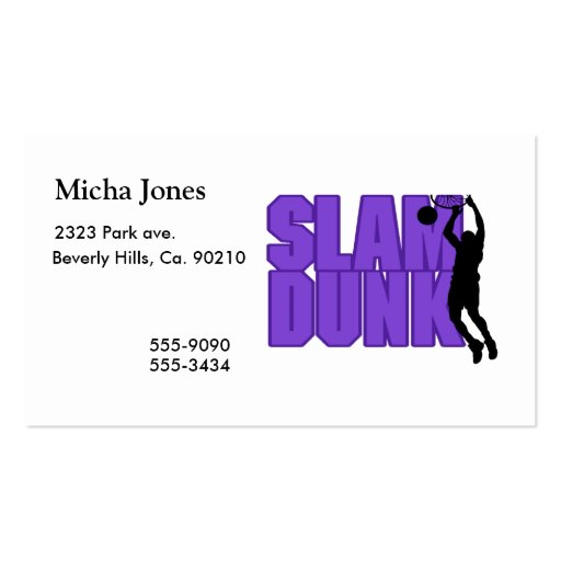 Slam Dunk Basketball Double-Sided Standard Business Cards (Pack Of 100)