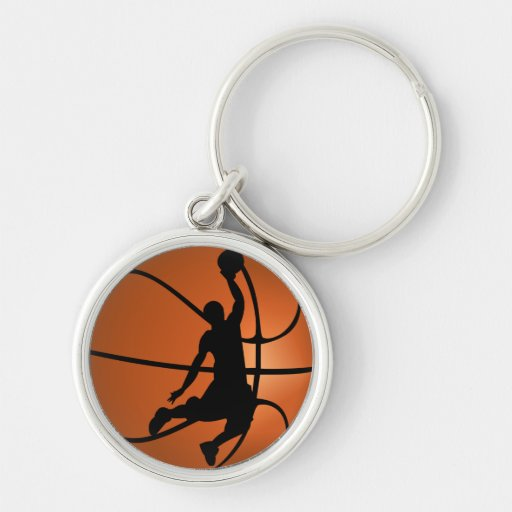 Slam Dunk Basketball Player Silver-Colored Round Keychain