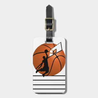 Slam Dunk Basketball Player w/Hoop on Ball Bag Tag