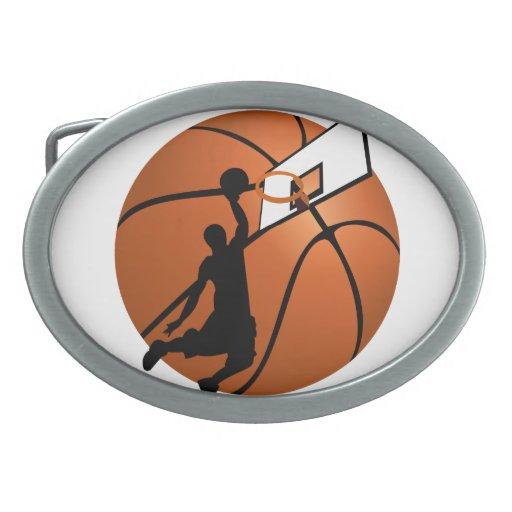 Slam Dunk Basketball Player w/Hoop on Ball Oval Belt Buckles