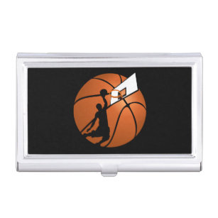 Hoop business card holders cases zazzle slam dunk basketball player whoop on ball business card case reheart Images