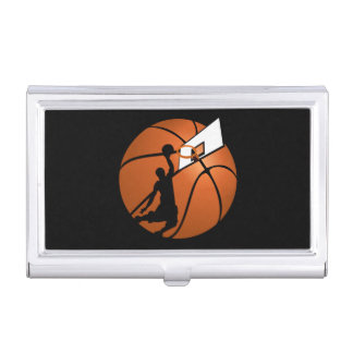 Basketball business card holders cases zazzle slam dunk basketball player whoop on ball business card case reheart Images