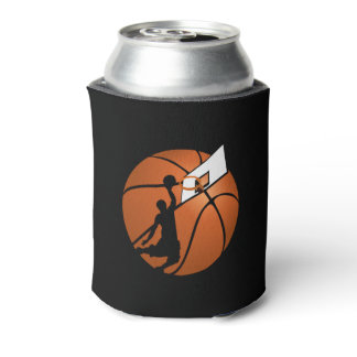 Slam Dunk Basketball Player w/Hoop on Ball Can Cooler