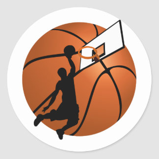 Slam Dunk Basketball Player w/Hoop on Ball Classic Round Sticker