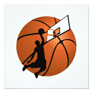 "Slam Dunk Basketball Player w/Hoop on Ball 5.25"" Square Invitation Card"