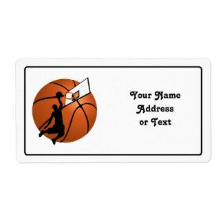 Slam Dunk Basketball Player w/Hoop on Ball Custom Shipping Label