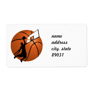 Slam Dunk Basketball Player w/Hoop on Ball Personalized Shipping Labels