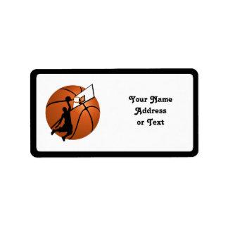 Slam Dunk Basketball Player w/Hoop on Ball Custom Address Labels
