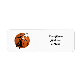 Slam Dunk Basketball Player w/Hoop on Ball Return Address Label