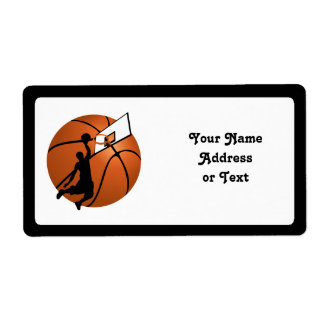 Slam Dunk Basketball Player w/Hoop on Ball Shipping Label