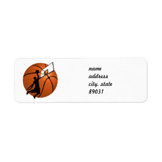 Slam Dunk Basketball Player w/Hoop on Ball Custom Return Address Label