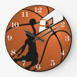Slam Dunk Basketball Player w/Hoop on Ball Large Clock