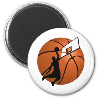 Slam Dunk Basketball Player w Hoop on Ball Refrigerator Magnet
