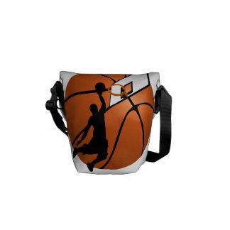 Slam Dunk Basketball Player w/Hoop on Ball Messenger Bag