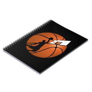 Slam Dunk Basketball Player w/Hoop on Ball Notebook