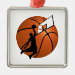 Slam Dunk Basketball Player w/Hoop on Ball Square Metal Christmas Ornament
