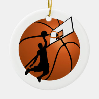 Slam Dunk Basketball Player w/Hoop on Ball Double-Sided Ceramic Round Christmas Ornament