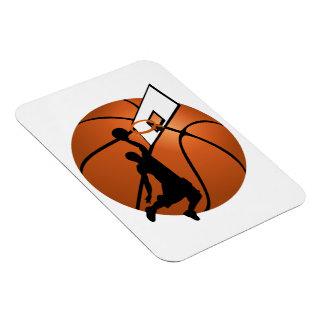 Slam Dunk Basketball Player w Hoop on Ball Rectangle Magnet
