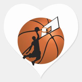 Slam Dunk Basketball Player w/Hoop on Ball Heart Sticker