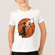 Slam Dunk Basketball Player w/Hoop on Ball T-Shirt