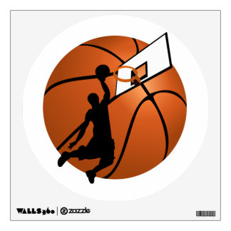 Slam Dunk Basketball Player w/Hoop on Ball Wall Sticker