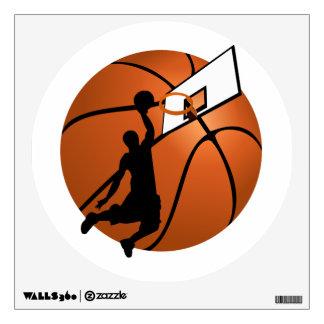 Slam Dunk Basketball Player w/Hoop on Ball Wall Stickers