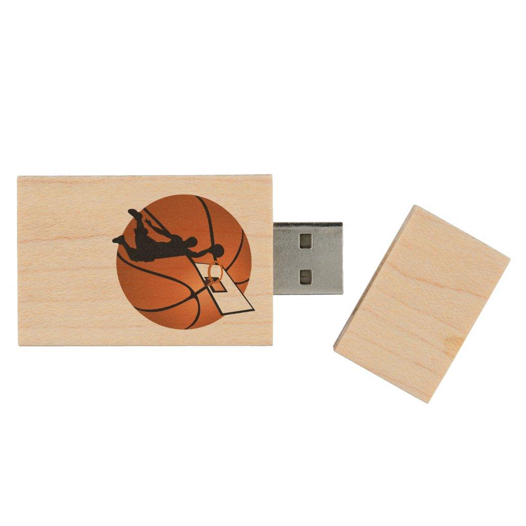 Slam Dunk Basketball Player w/Hoop on Ball Wood USB Flash Drive