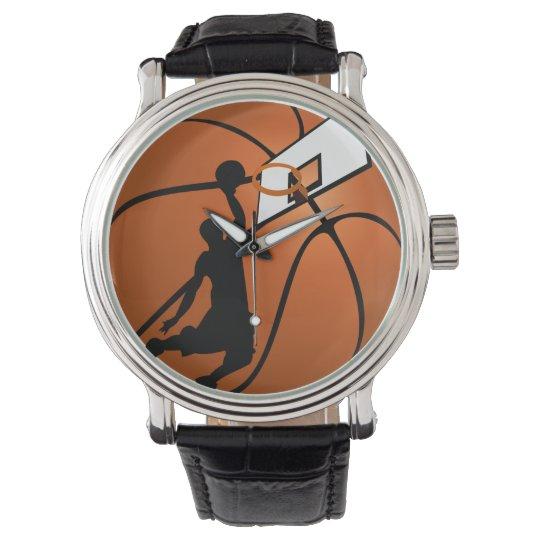 Slam Dunk Basketball Player w/Hoop on Ball Wristwatch