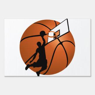 Slam Dunk Basketball Player w/Hoop on Ball Yard Sign