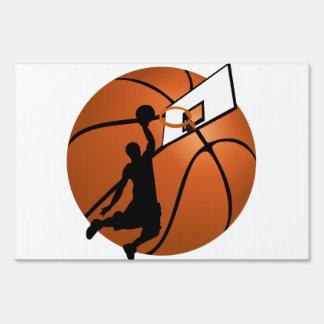Slam Dunk Basketball Player w/Hoop on Ball Lawn Sign