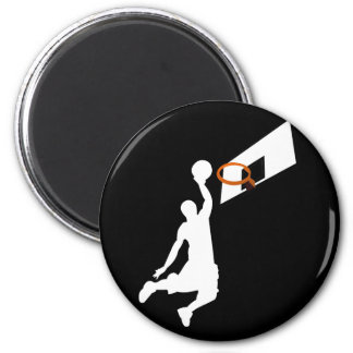 Slam Dunk Basketball Player - White Silhouette 2 Inch Round Magnet