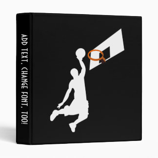 Slam Dunk Basketball Player - White Silhouette 3 Ring Binder