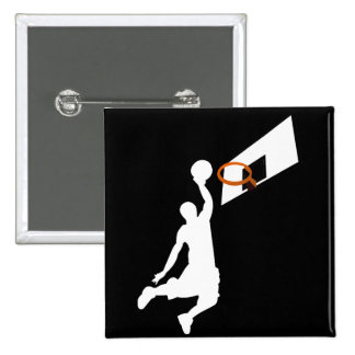 Slam Dunk Basketball Player - White Silhouette Pinback Button