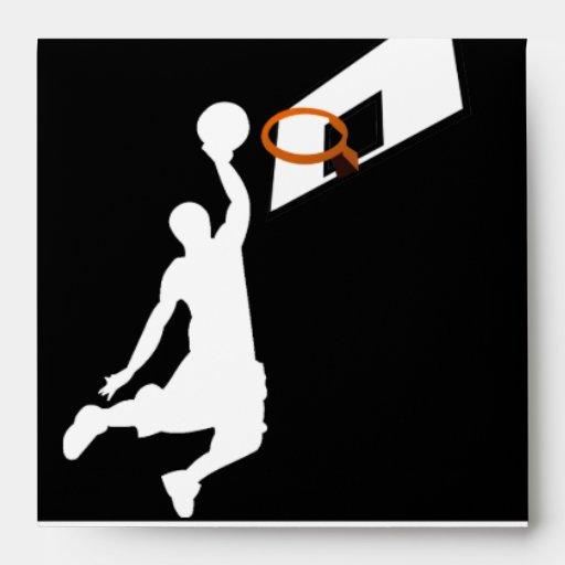 Slam Dunk Basketball Player - White Silhouette Envelopes