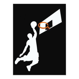 "Slam Dunk Basketball Player - White Silhouette 6.5"" X 8.75"" Invitation Card"